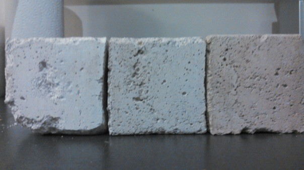 Color Difference between 3 Mortar cubes made with 3 different NHL 3.5 from different suppliers